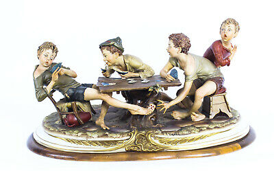 """Vintage Italian Capodimonte Porcelain """"The Card Cheats"""" by Merli Late 20th C."""
