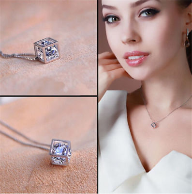 Fashion Womens Jewelry Magic Cube Silver Crystal chain Necklace Pendant Gift New