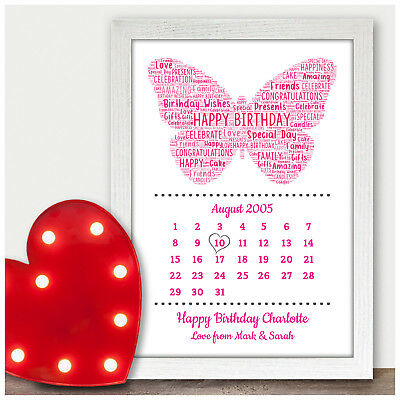 Personalised 13th 16th 18th Birthday Gifts For Her Girls Daughter Butterfly Gift