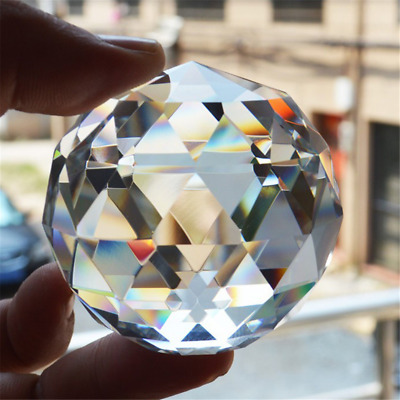 Clear Cut Crystal25~40mm Sphere Faceted Gazing Ball Prisms Suncatcher Home Decor