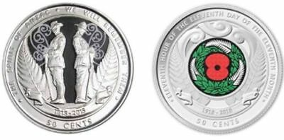 New Zealand 2015 & 2018 Coloured 50 Cent Coins - ANZAC & Armistice.UNC from Roll