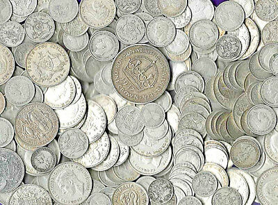 AUSTRALIAN Sterling Silver coins 1910-1945 1 KILO 3d to 2/- & 5/- many aF/better