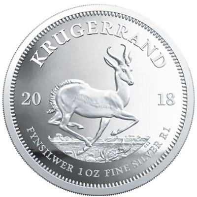 2018 South African Silver Kruger Rand - 1oz .999 Fine Silver Coin