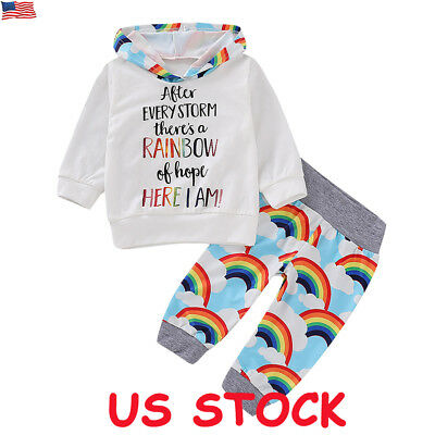 2Pcs Toddler Kids Baby Girl Boy Clothes Hoodie Tops Pants Outfit Set Tracksuit