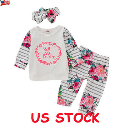 Newborn Kid Baby Girl Floral Clothes Tops T Shirt Pants Headband Winter Outfit