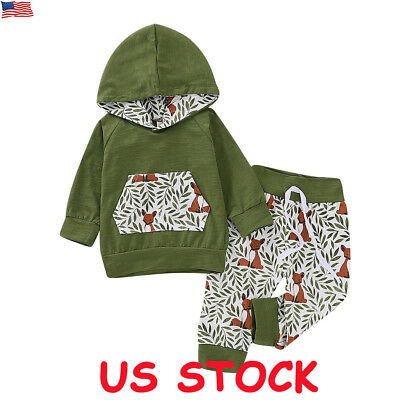Newborn Baby Boys Clothes Hooded Hoodie Tops Pants Infant Outfits Set Tracksuit