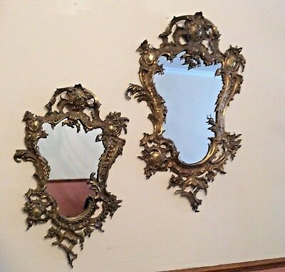 Mother & Daughter Brass Victorian French Rocco style flower Mirror