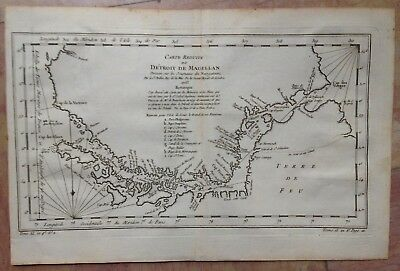 STRAIT OF MAGELLAN DATED 1753 by NICOLAS BELLIN LARGE ANTIQUE ENGRAVED MAP