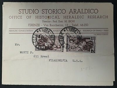 SCARCE 1952 Italy Advertising Lettercard ties 2 Workers stamps canc Florence