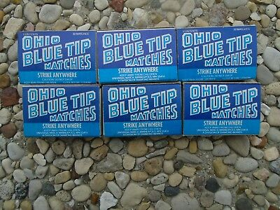 Vintage Lot of 6 Ohio Blue Tip Pocket Sized Matches. 32 Matches Per Box
