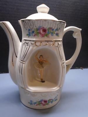 """Teapot Musical Vintage Spinning Ballerina Music Box Plays """"Tea for Two"""" Japan"""