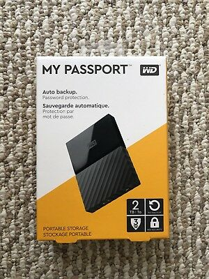 Western Digital My Passport 2 TB Portable External HD Black-New/Sealed -FreeShip