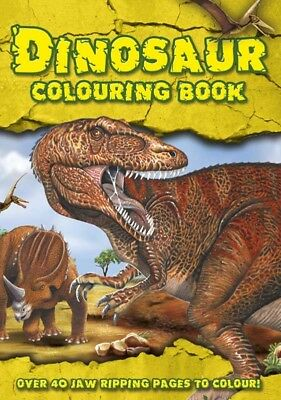 KIDS DINOSAUR COLOURING BOOK 40 Pages Childrens Learning Adventure Activity Gift