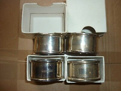Vintage Sterling Silver Napkin Rings all individually boxed 2 Plain & 2 pattern
