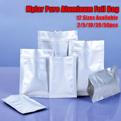 Mylar Pure Aluminum Foil Ziplock Bag 0.2mm Resealable Food Grade Pouch 12 Sizes