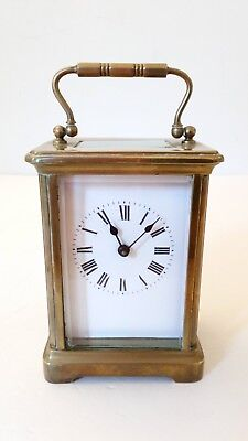 Antique French Mantel Carriage Clock Brass Case With Key