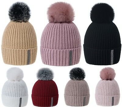 f8aae2538ad903 Women Winter Beanie Hat Knitted Pom Pom Ladies Crystals Worm Fleece Lining  Ski