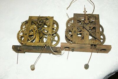 2 x Antique (USA Probably) Shelf/Wall Clock Movements, Spares/Repair