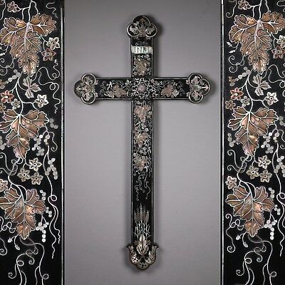 An 18th or 19th Century Chinese Mother of Pearl Inlaid Wood Crucifix Cross