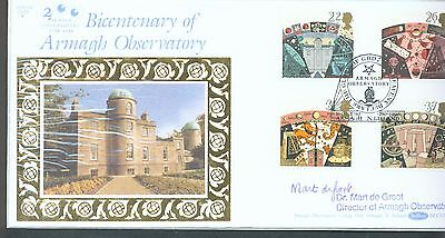 Great Britain 1990 Astronomy FDC signed by Dr. Mart De Groot