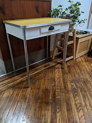 1950's Chrome/Formica Table - Yellow and White w/ Small Drawer