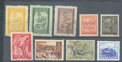 Macao 1949-51 range of 9 MH or used