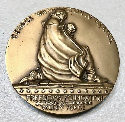 Vintage Antique 1776-1976 George Washington at prayer/Masonic Large Bronze Medal
