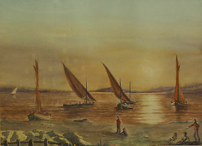 Vintage Watercolour Painting Barges in the Thames Estuary