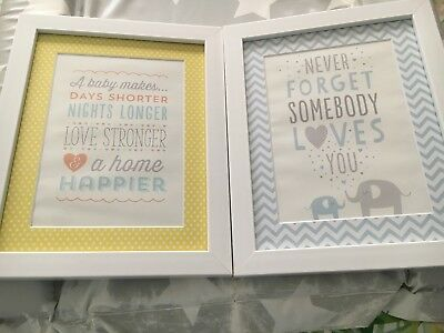 2 x pretty prints in white frames for baby boys room