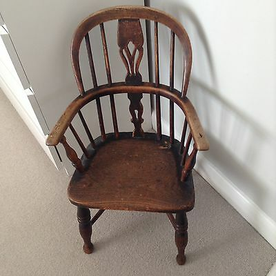 "Antique Elm and Yew Child""s  Windsor Chair"