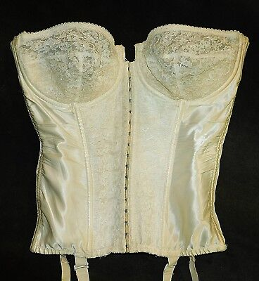 Vintage 1950's MERRY WIDOW CORSELET 38C Lace Satin w/Garters MUSEUM CHARMODE