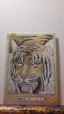 Shiva Topps Road To Alexandria Walking Dead Original Sketch Card By Wayne Tully