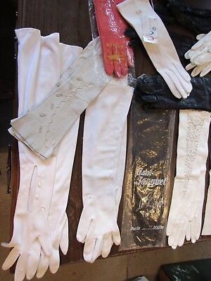 Large Lot Ladies Vintage Gloves Long & Short Kid Leather Opera & Special Event