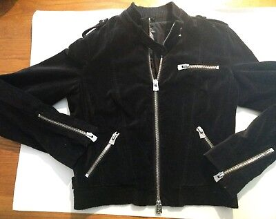 Armani Exchange​ Women's Black Faux Suede Biker Jacket Silver Zippers Short - M