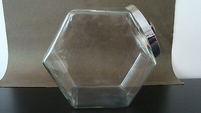 """Vtg Large Glass Cookie/Candy Jar Counter Top Store Display Metal Lid 10.5""""H"""