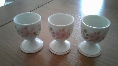 3 X BOOTS HEDGE ROSE EGG CUPS - Never used, only stored