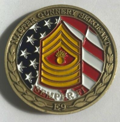 USMC US Marine Corps Master Gunnery Sergeant E9 Semper Fi Challenge Coin