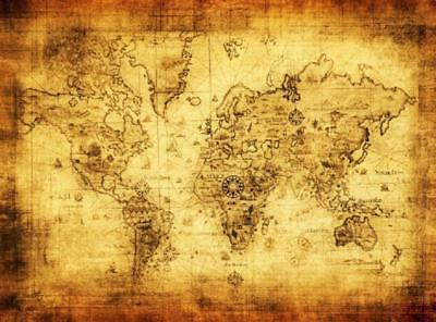 World Map Detailed Antique Poster Retro Cloth Globe Vintage Home Decoration New