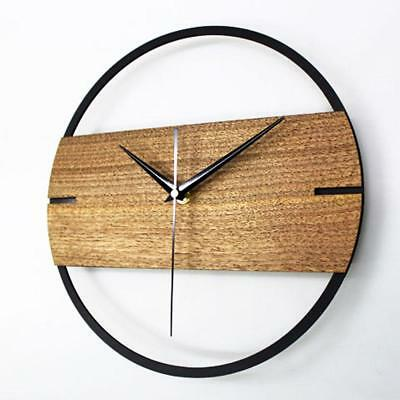Wooden Clock Simple Modern Design 3D Sticker Wall Watch Vintage For Bedroom Home