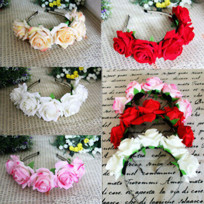 Rose Floral Flower Garland Crown Headband Head Wreath Bridal Wedding Hair Band