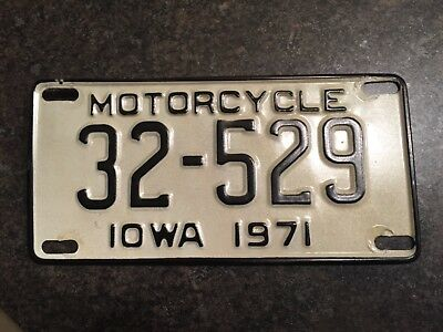 1971 motorcycle license plate Iowa