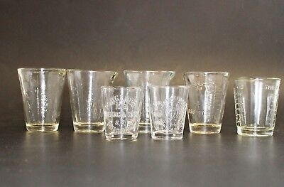 Vintage Miniature Science Apothecary Pharmacy Glass Measuring Glass Lot (7)