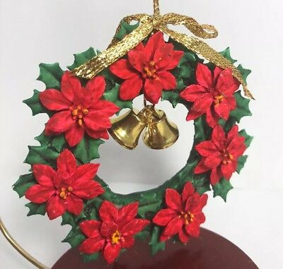 Vintage Poinsettia Wreath Christmas Ornament With Bell Accents EUC XF