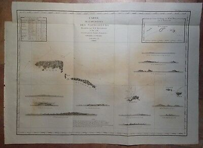 SAMOA ISLANDS 1797 LA PEROUSE VERY LARGE ANTIQUE ENGRAVED CHART 18e CENTURY