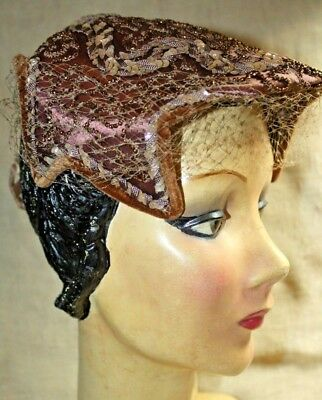 Vintage (True)Caprice Ny, Beaded, Sequined Headhugger Hat.
