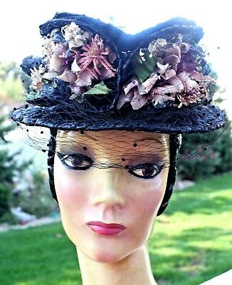 Vintage (True) Unique Navy Black Straw Hat/ Tiny Millnery Flowers/veil/chinstrap