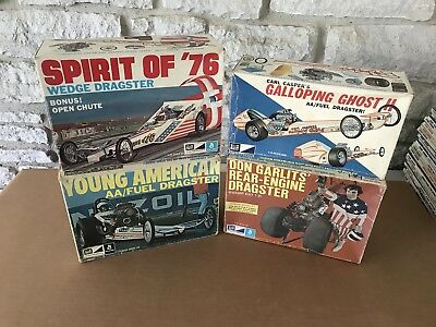 Vintage Lot (4) Original 1/25 Model Kits Top Fuel Dragsters NHRA Boxes Only
