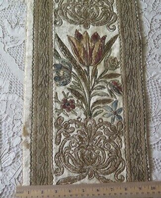 "Antique French 1920s Silk & Metallic Velvet Fabric~L-59"" X W-9"""