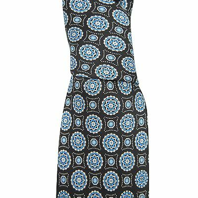 Brioni Men's Black Blue 100% Silk Geometric Skinny Neck Tie