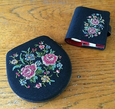 Pretty, Vintage, Embroidered Compact & Lipstick Holder Set. VGC.
